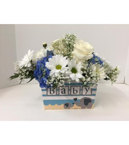 For the new Mom - Baby Boy Arrangement