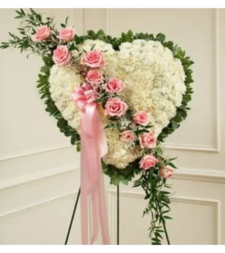 Sympathy Heart With Pink Break Roses