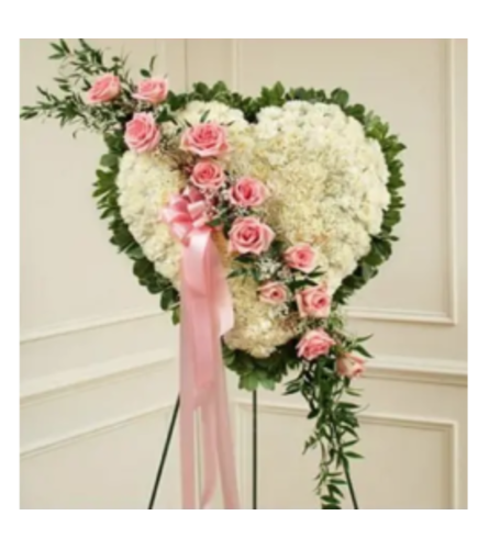 Sympathy Heart With Pink Rose Break