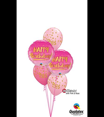 Pink 'N' Rose Birthday Classic Confetti Balloon Bouquet