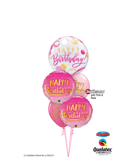 Pink & Gold Birthday Fun Cheerful Bubble Balloon Bouquet
