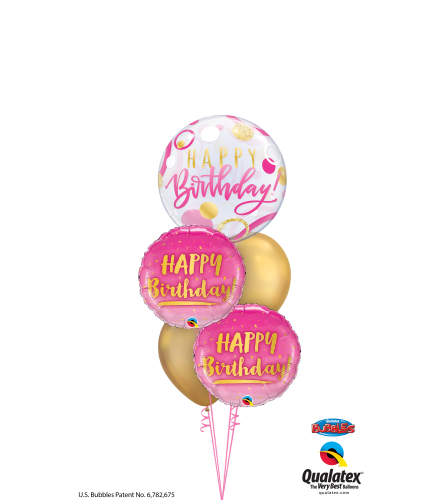 Tickled Pink Birthday Cheerful Bubble Balloon Bouquet