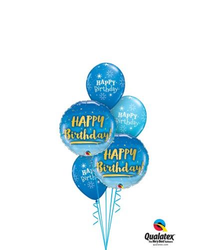 Blue Happy Birthday Classic Balloon Bouquet