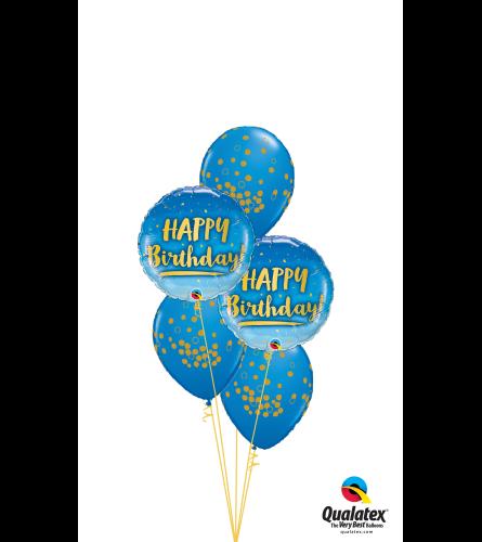 Blue 'N' Gold Birthday Classic Confetti Balloon Bouquet