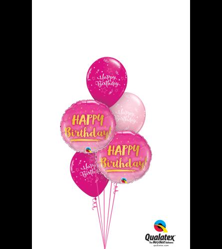 Pink Happy Birthday Classic Balloon Bouquet
