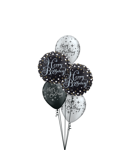 Black 'N' Silver Birthday Classic Balloon Bouquet