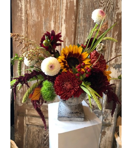 Fall Mix in Stone Pedestal
