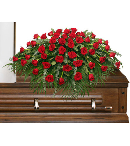 Majestic Red Casket Cover