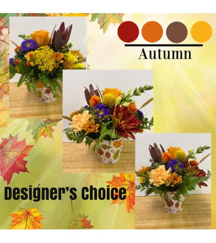 Autumn Arrangement in Decorative Container