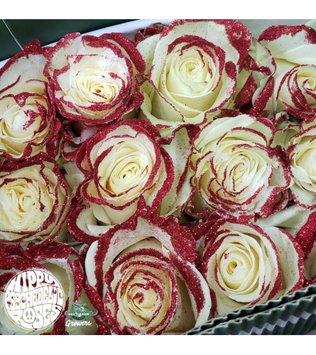 Amazing Roses One Dozen Red Glitter