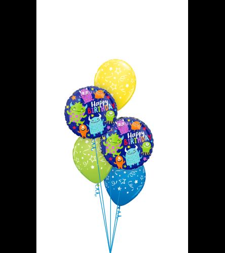 Happy Little Monster Birthday Classic Balloon Bouquet