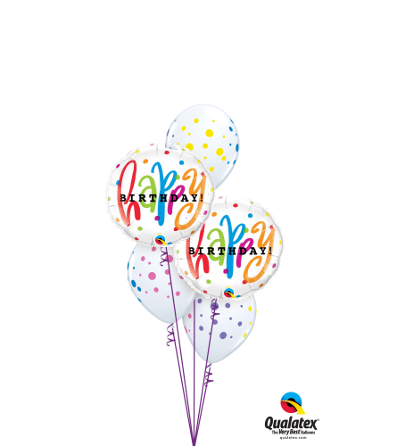 Happy Birthday Dots Galore Classic Balloon Bouquet