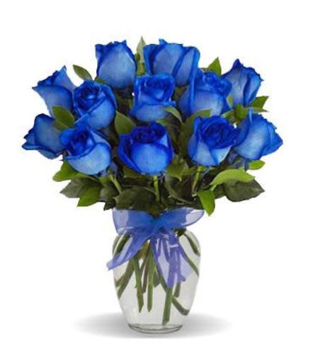 Blue Roses in a Vase