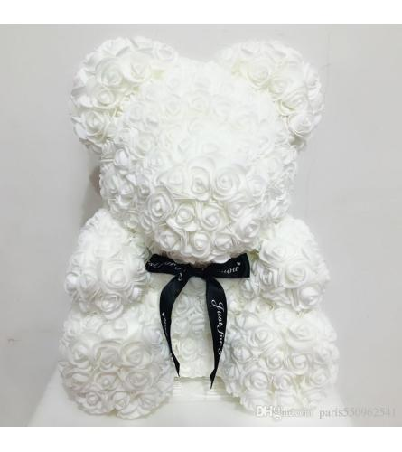 WHITE ROSE FOAM BEAR