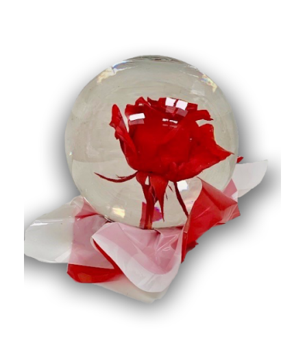 Regal Red Rose in Glass Orb