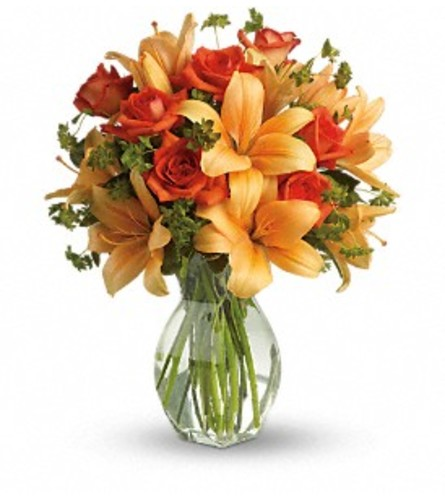 Fiery Orange Lily and Rose