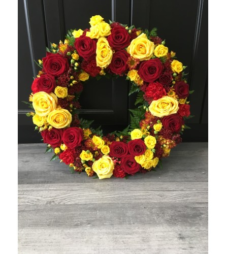 Red and Yellow Rose Wreath