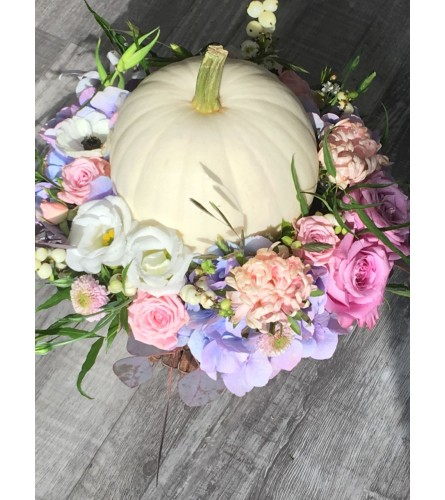 White pumpkin basket Pink/Purple