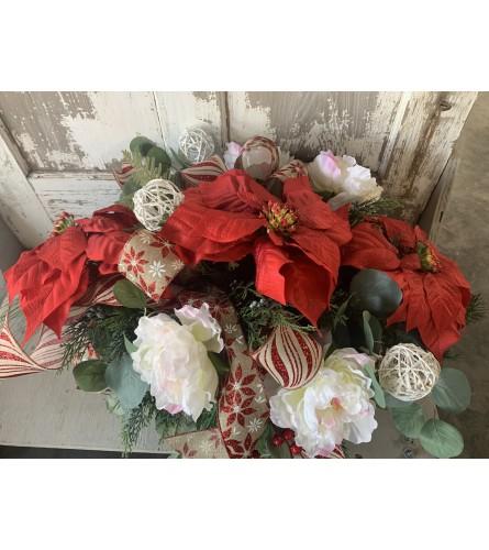 Poinsettia and White Orb Christmas Saddle