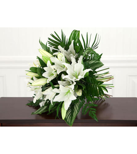 White Lilies Euro Handtied Bouquet