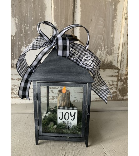 Buffalo Plaid Joy Lantern