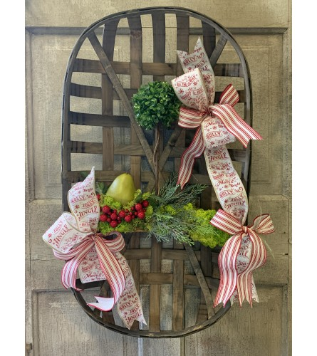 Large Tobacco Basket with Pear and Topiary