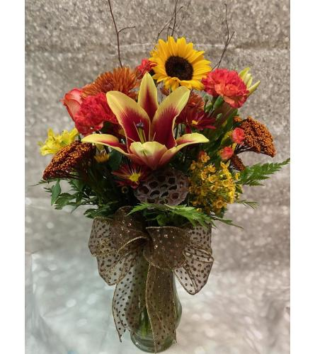Colors of Fall Vase Arrangement