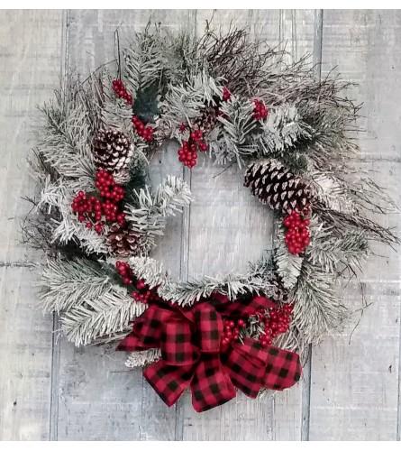 Frosty Christmas Pine Silk Wreath