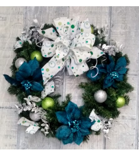 Aqua, Blue and Silver Silk Christmas Wreath