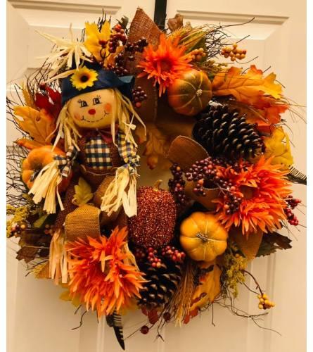 Happy Harvest  Scarecrow Wreath