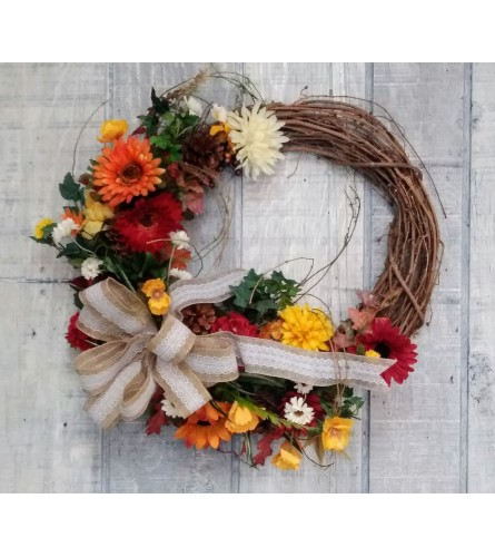Grapevine Wreath with Gerbera Daisies