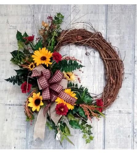 Fall Silk Wreath with Sunflowers
