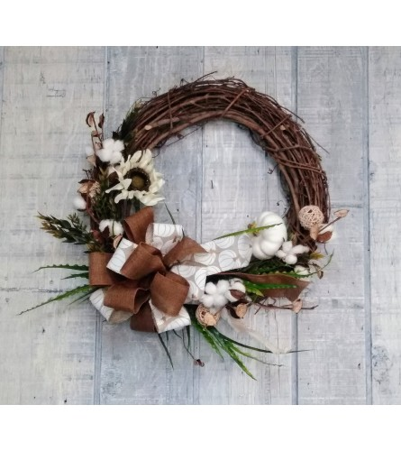 Grapevine Silk Wreath in Creams and Browns