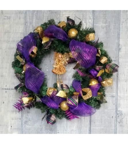 Jewel-tone Christmas wreath in silk