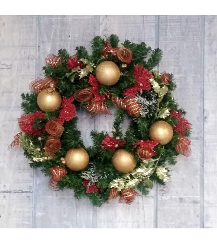 Baubles and bows red and green Christmas wreath silk