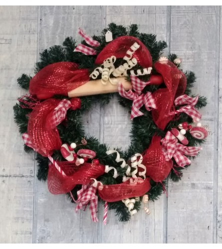 Candy cane red and white Christmas wreath silk