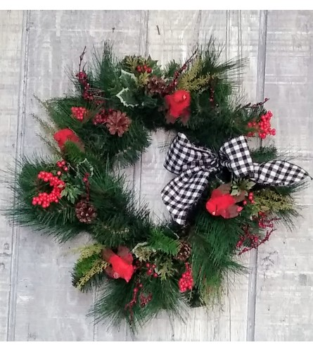 Holly berries and pine cones Christmas wreath silk
