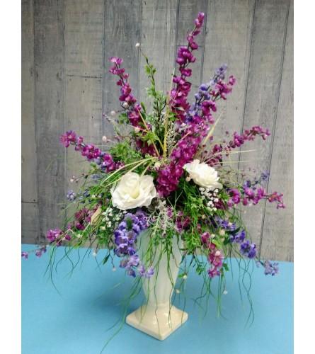 Elegant summer in purple and cream silk