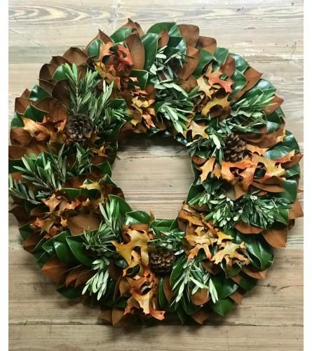 Fresh Magnolia Holiday wreath