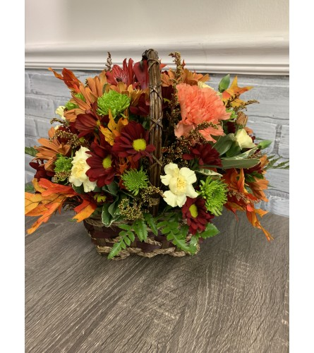 Fall Flowers in Wicker Basket