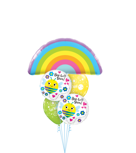 Rainbows, Bumble Bees and Flowers Cheerful Balloon Bouquet