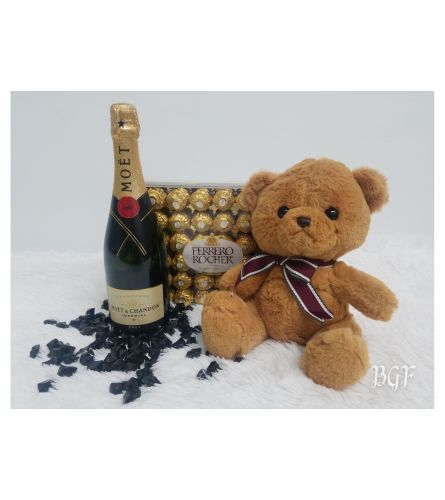 Moet and Ferrero With Teddy Bear Brown