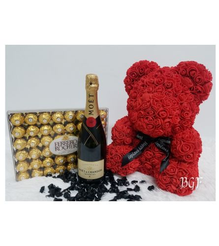 Moet and Ferrero with Glamour Rose Bear Red