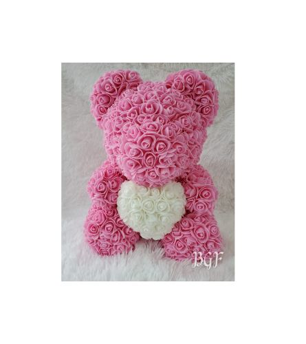 Pink Rose Bear Glamour Heart (Artificial Rose Petals)