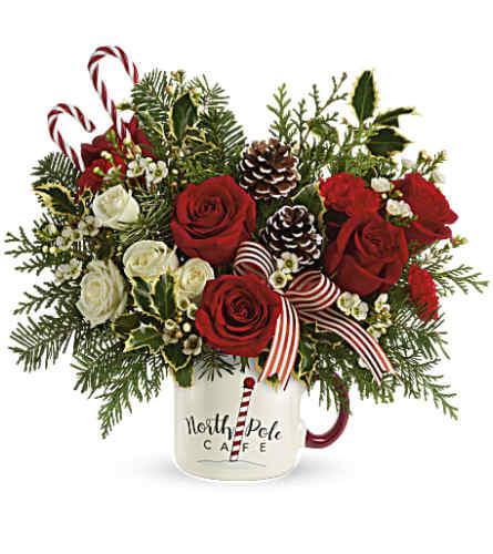 Send a hugh north pole cafe mug