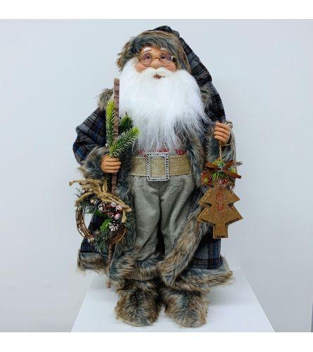 Blue Plaid Coat Santa Claus
