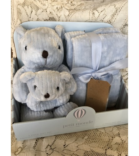 Baby Boy Bundle! Blanket, Bear, Rattle