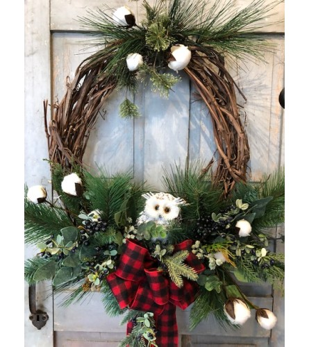 Oval Owl Silk Wreath