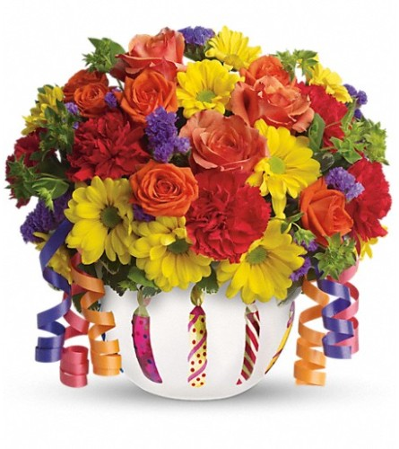Brilliant Birthday Bouquet blooms from Teleflora