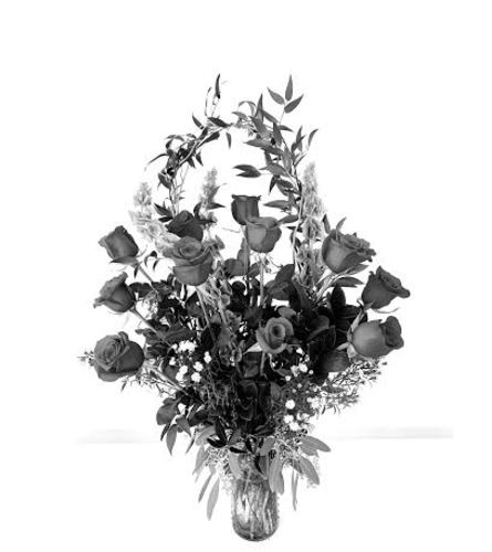 White Vesseled Roses 2 doz